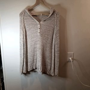 FREE PEOPLE THREE BUTTON HOODED JERSEY Sz.M